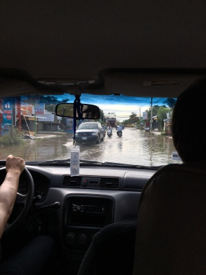 flooded street in Battambang
